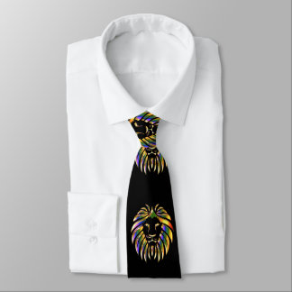 Lion Head Print Gold Green Purple On Black Necktie