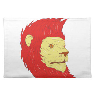 Lion Head With Flowing Mane Drawing Placemat