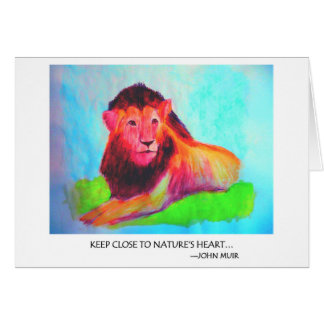 Lion Heart - Wild Animal Conservation John Muir Card