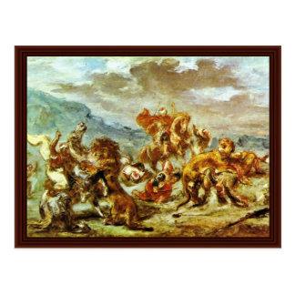 Lion Hunt By Eugène Ferdinand Victor Delacroix Postcard