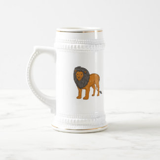 Lion Hunting Surveying Prey Drawing Beer Stein