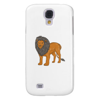 Lion Hunting Surveying Prey Drawing Samsung Galaxy S4 Case