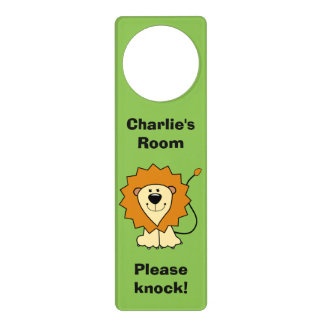Lion illustration custom name door hanger