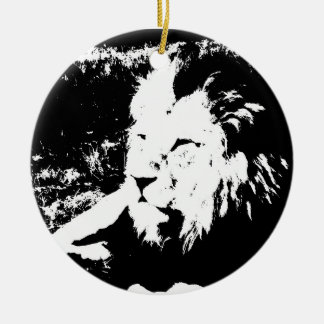 Lion in Black and White Round Ceramic Decoration