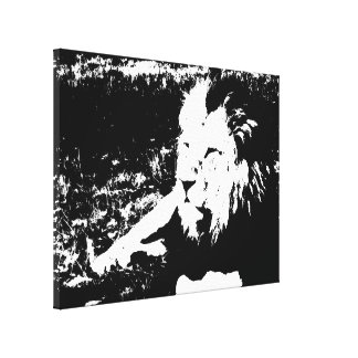 Lion in Black and White Stretched Canvas Prints