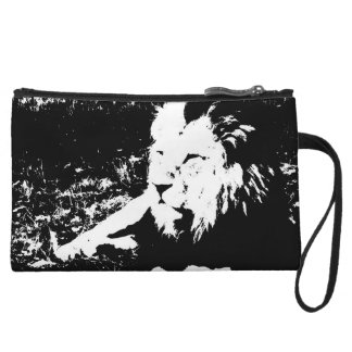 Lion in Black and White Wristlet Clutches