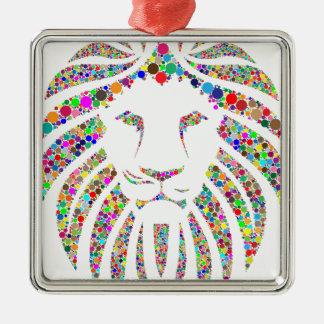 lion in colours metal ornament