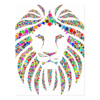lion in colours postcard