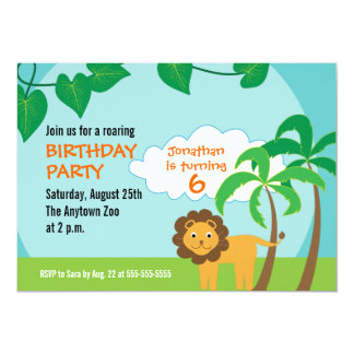 Lion in Jungle, Childs Birthday Party Card