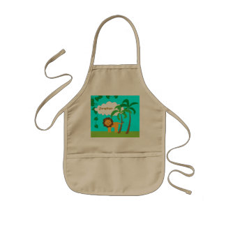 Lion in Jungle with Palm Trees Personalized Kids Apron