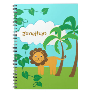 Lion in Jungle with Palm Trees Personalized Spiral Note Book