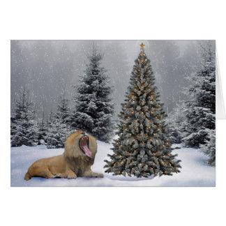 Lion in snow scene greeting card