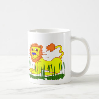 lion in the grass classic white coffee mug