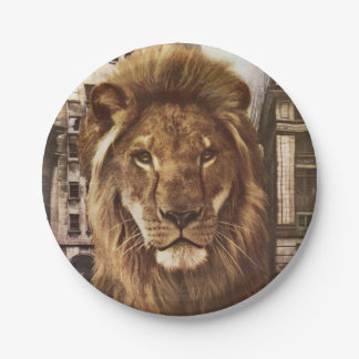 lion in town paper plate
