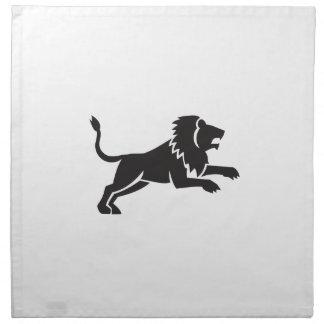 Lion Jumping Silhouette Side Retro Napkin