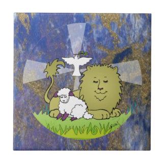 Lion Lamb and Dove Small Square Tile