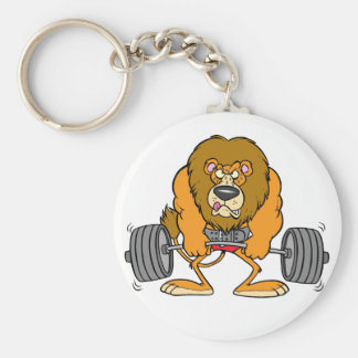 Lion Lifing Weights Keychain