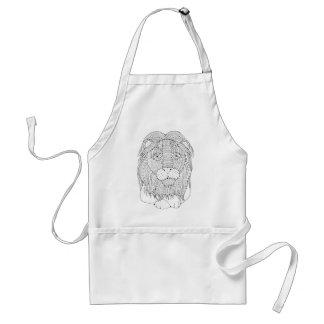 Lion Line Art Design Standard Apron