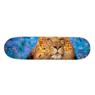 lion - lion collage - lion mosaic - lion wild 21.3 cm mini skateboard deck