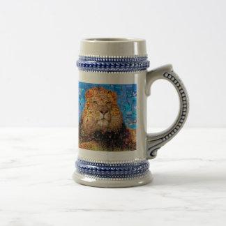 lion - lion collage - lion mosaic - lion wild beer stein