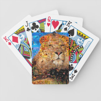 lion - lion collage - lion mosaic - lion wild bicycle playing cards
