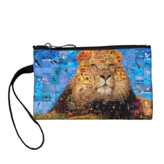 lion - lion collage - lion mosaic - lion wild coin purse