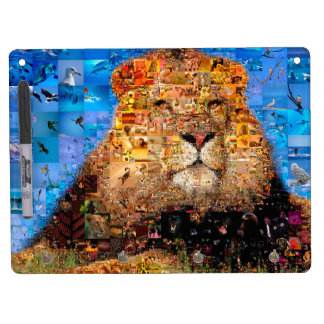 lion - lion collage - lion mosaic - lion wild dry erase board with key ring holder