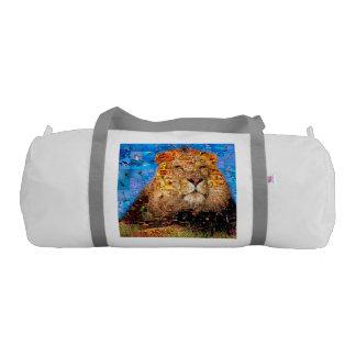 lion - lion collage - lion mosaic - lion wild gym duffel bag