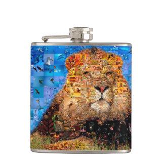 lion - lion collage - lion mosaic - lion wild hip flask