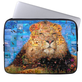 lion - lion collage - lion mosaic - lion wild laptop sleeve