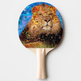 lion - lion collage - lion mosaic - lion wild ping pong paddle
