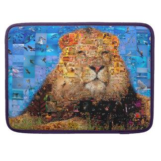 lion - lion collage - lion mosaic - lion wild sleeve for MacBook pro