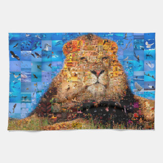 lion - lion collage - lion mosaic - lion wild tea towel