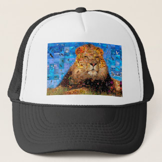 lion - lion collage - lion mosaic - lion wild trucker hat