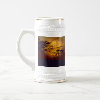 Lion Looking Over African Sunset Beer Steins