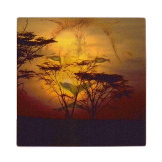 Lion Looking Over African Sunset Wood Coaster