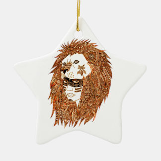 Lion Mask Ceramic Star Decoration