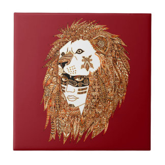 Lion Mask Ceramic Tile