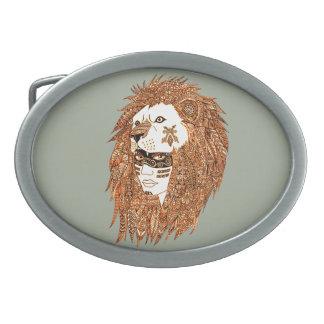 Lion Mask Oval Belt Buckle