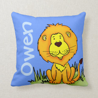 Lion name and birth newborn blue square pillow