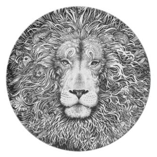 Lion nest black and white plate
