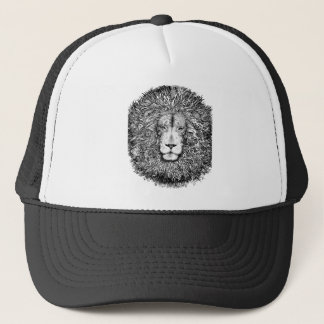 Lion nest black and white trucker hat