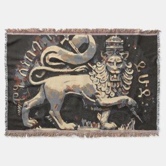 Lion of Judah Earthy  Rasta Design Throw Blanket
