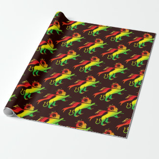 Lion of Judah in Rasta colors on dark background Wrapping Paper