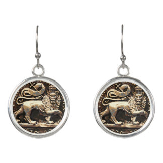 Lion of Judah Rasta Drop Earrings Silver Plated