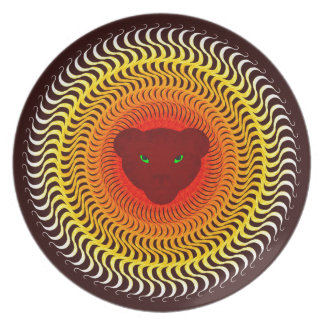 Lion on burgundy party plates