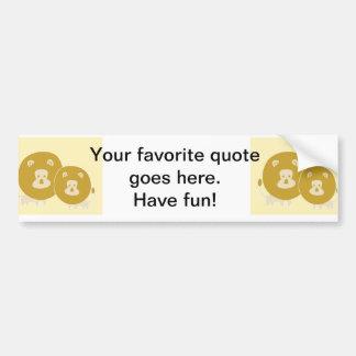Lion on plain yellow background. car bumper sticker