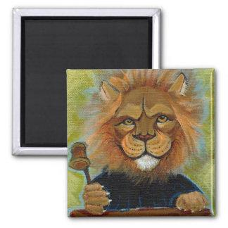 Lion painting original art judge legal law lawyers square magnet