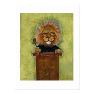 Lion painting original art judge legal law lawyers postcard