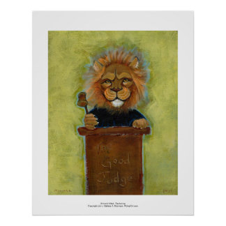 Lion painting original art judge legal law lawyers poster